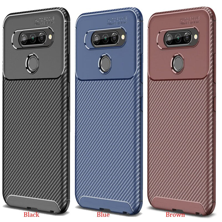 100pcs/lot Case For LG Q70 Soft TPU Rugged Carbon Fiber Shockproof Case For LG Q70