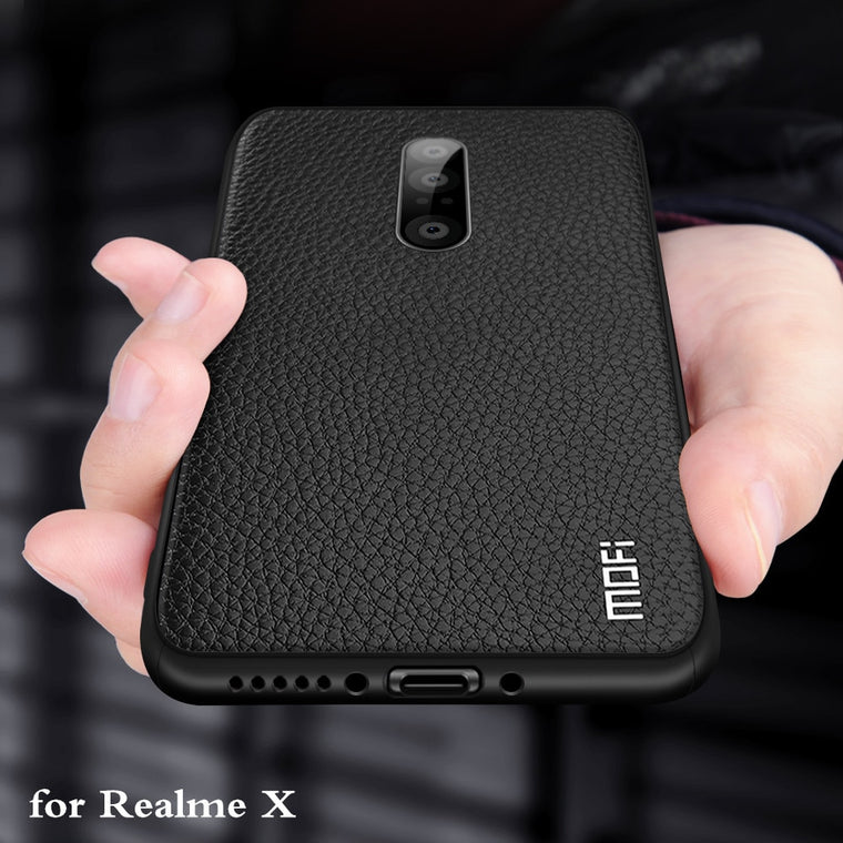 for Realme X Case RealmeX Cover for OPPO Case MOFi Back Coque TPU PU Leather Soft Silicone Full Edge Anti Drop Anti Knock