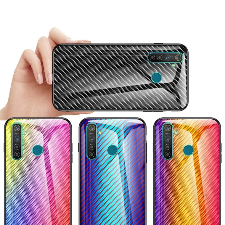 For Oppo Realme 5 5pro Phone Case Luxury Carbon Fiber Tempered Glass Hard Back Silicone Frame Cover For Oppo A9 A5 2020 Coque