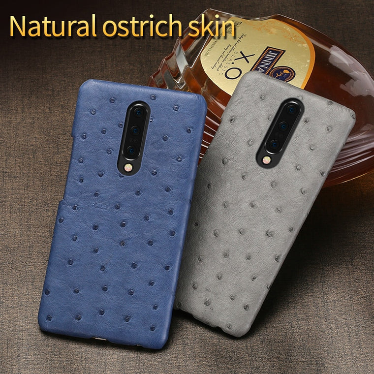 Original Luxury Leather Case For Oneplus 7 7pro Cases Natural Ostrich Shell case For 6 6T 5 5T 3 3T Shockproof Phone cover funda