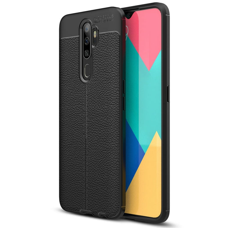 30pcs/lot For OPPO A9 2020 A5 2020 Shockproof Skin Slim Litchi Rubber Case For OPPO Realme XT Reno Ace