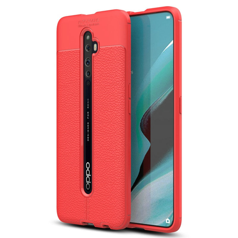 30pcs/lot For OPPO Reno2 Reno2 Z Shockproof Skin Slim Litchi Rubber Case For OPPO A9 2020 Realme XT