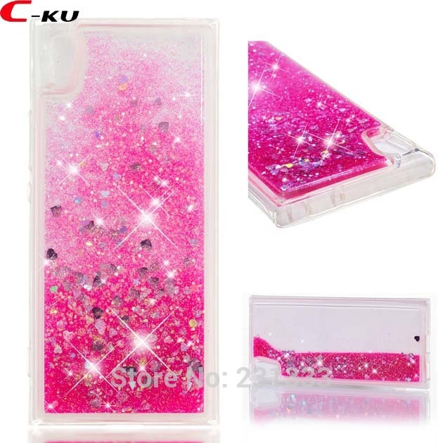 C-ku For LG V20 K10 2018 Q8 V30 K4 2017 K8 3D Glitter Liquid Quicksand Soft TPU Case Heart Love Clear Skin Cover Fashion 100pcs