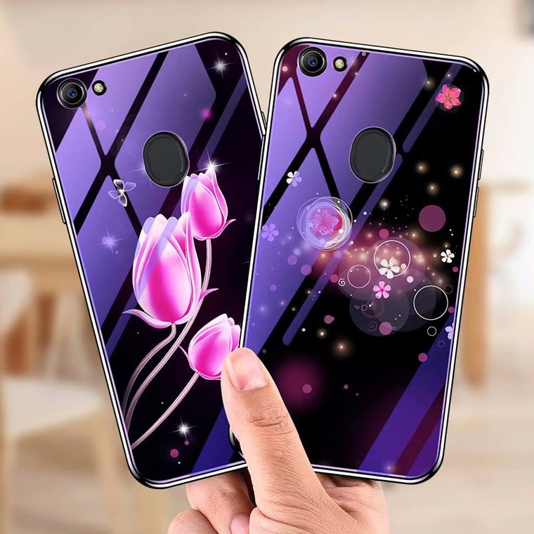10pcs/lot free shipping Luxury flower glass CASE Electroplate TPU frame back Cover for ONEPLUS 6 1+6