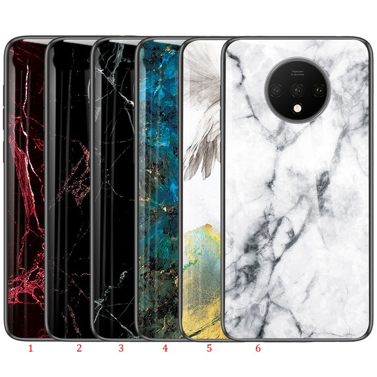 100pcs/lot Hard Tempered Glass Cover For Oneplus 7T Anti-scratch Marble Pattern Hard Case