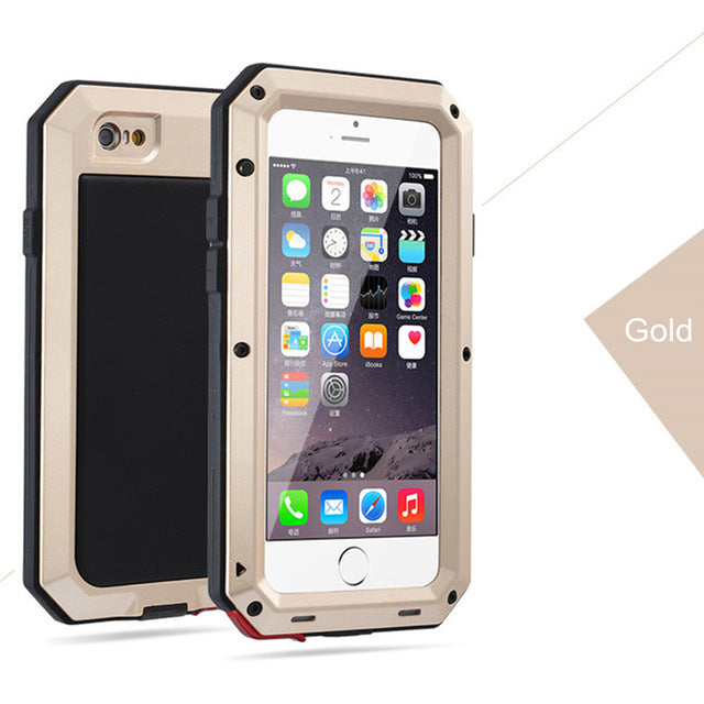 Luxury Doom Armor Life Shock Dropproof Shockproof Metal Aluminum + Silicone Protective Case for IPhone 8 7 5 5S SE X 6 S 6S Plus