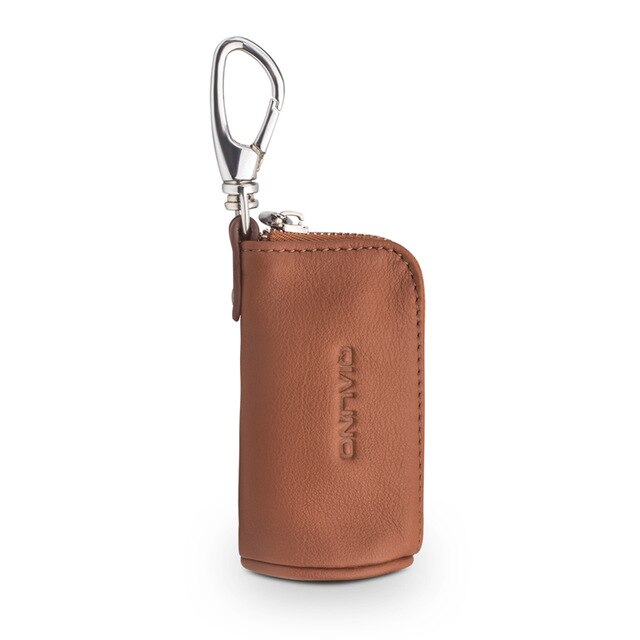 QIALINO Fashion Portable Genuine leather Mini Pocket Case Cover for Apple AirPods Simple Loading Car keys & Coin Cowhide Bag