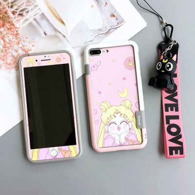For iPhone 8 Plus shockproof bumper + back front Tempered Glass for iPhone X 7 8 plus 6 6S sailor moon cat 3D toy holder +strap