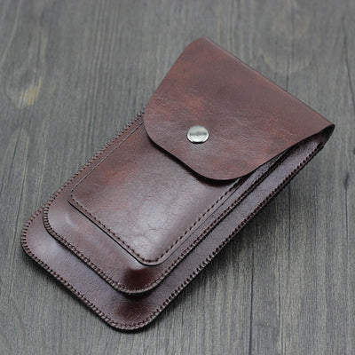 Men wear leather belt pockets Universal Dual Leather Case kangaroo retro for iphone 6 7 8 plus X XS MAX XS XR double-layer pouch