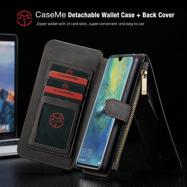 CaseMe All-In-One Handmade Wallet Case For Huawei Mate 20 Pro Ultimate Functional Detachable Flip Cover For Huawei Mate 20 Cases