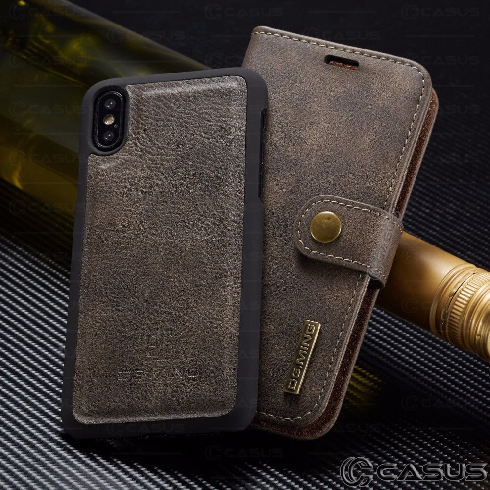 For iPhone  XS MAX XR X Case PU Leather Removable Wallet Magnetic Flip Card Case Cover For  iPhone 8 7 6 Plus Case