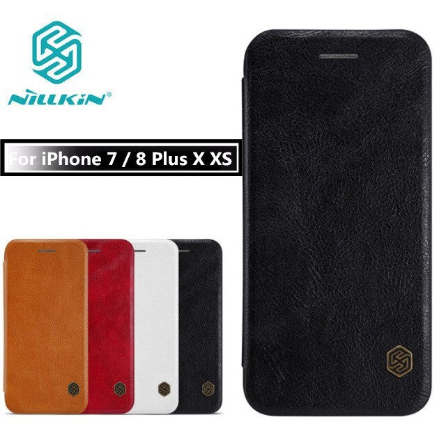 for Apple iPhone 7 7Plus Case NILLKIN Qin Series Wallet Flip Cover Case For iphone X 10 iphone 8 Plus Genuine Flip Leather Case