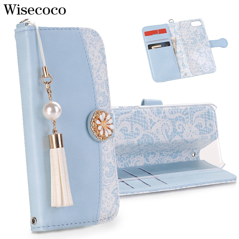 Luxury Japan Tassel Pearl Flip Case for Iphone X 8 7 6 6S Plus Xs Max Xr Magnetic Wallet Leather Card Slot Stand 360 Book Cover