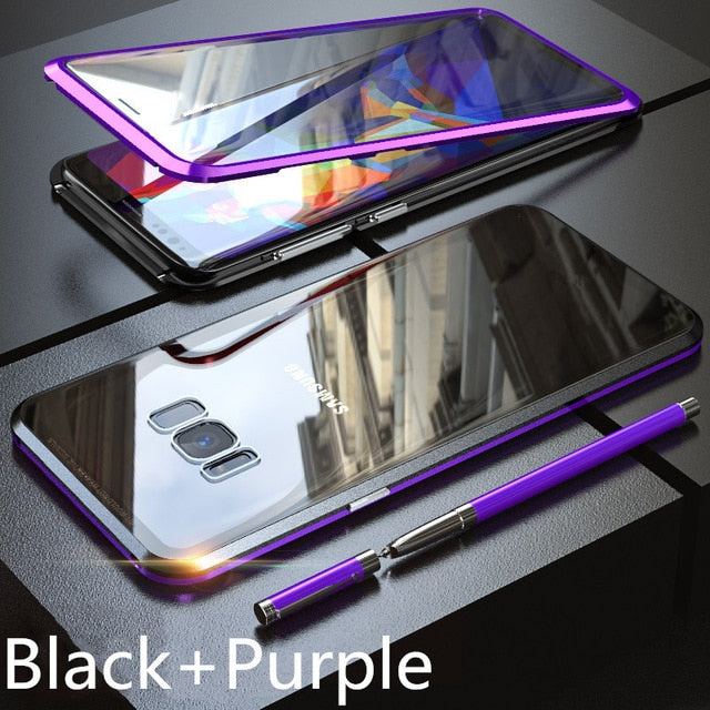 360 Full Coverage Magnetic Case for Samsung Galaxy S10 S10e S10 Plus 5G S8 S9 Plus Note 8 9 with Screen Protector Tempered Glass