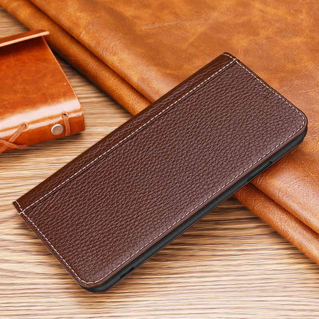 Genuine Leather Flip Case For iPhone 7 8 Plus X XR XS Max Cover Conque Magnetic Phone Bag Case For iPhone X XR XS MaX  Funda
