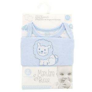 2pk Cotton Baby Bodysuits - Blue