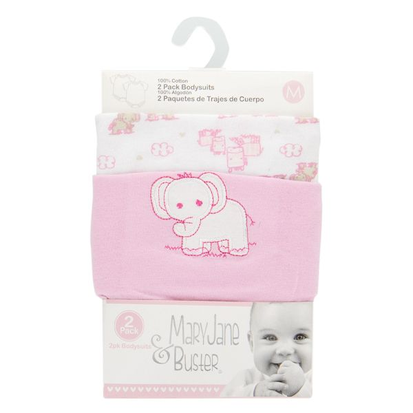 2-Pack Cotton Baby Bodysuits - Pink