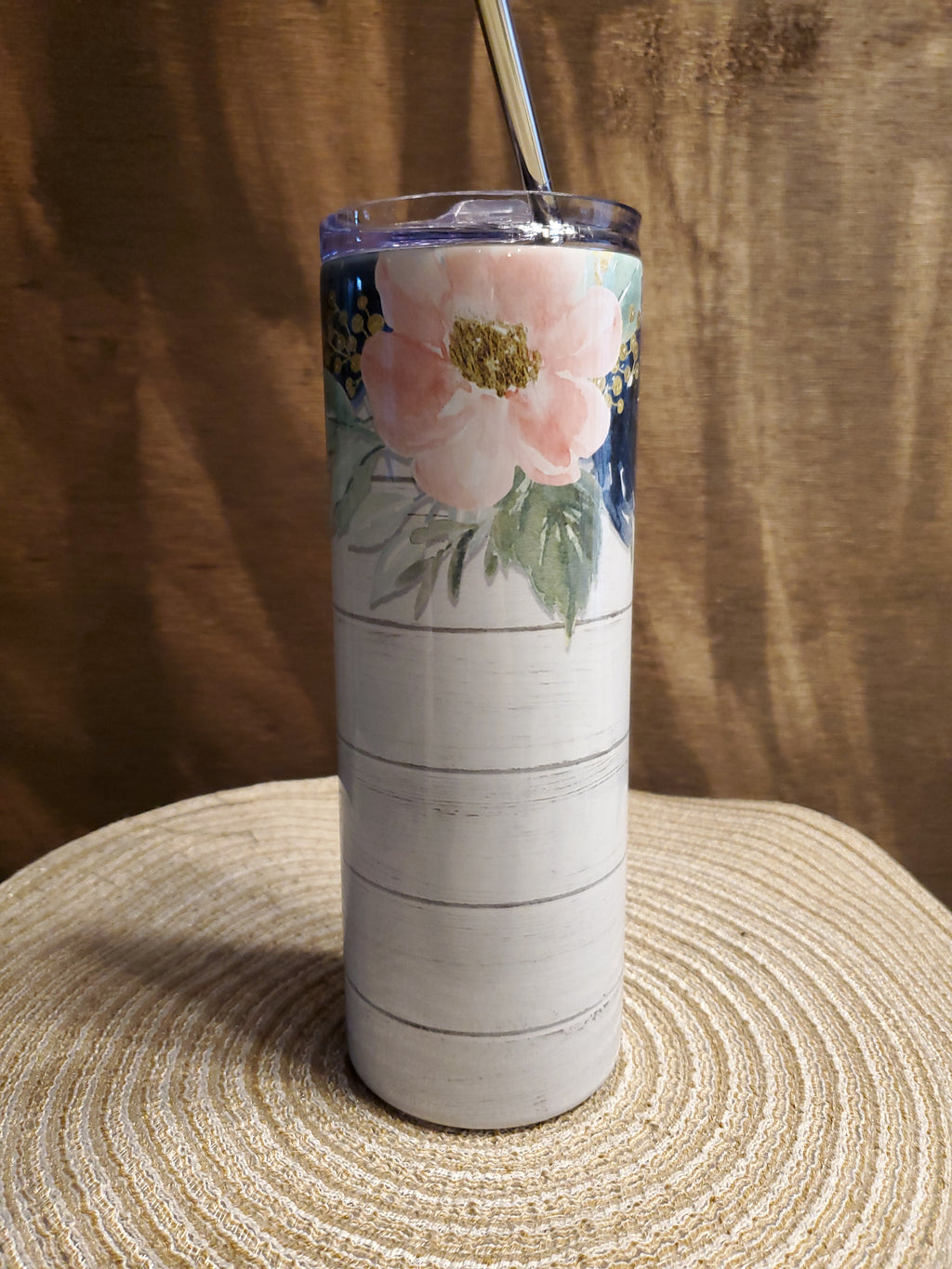 20oz Skinny tumbler Wooden background with Water color Flowers, sublimation