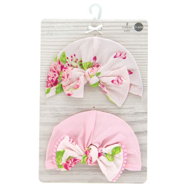 2pk Turban hat. Hot pink and soft floral print