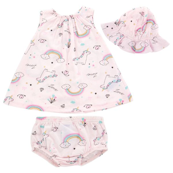 3pc Unicorn outfit - Dress, hat, and diaper cover