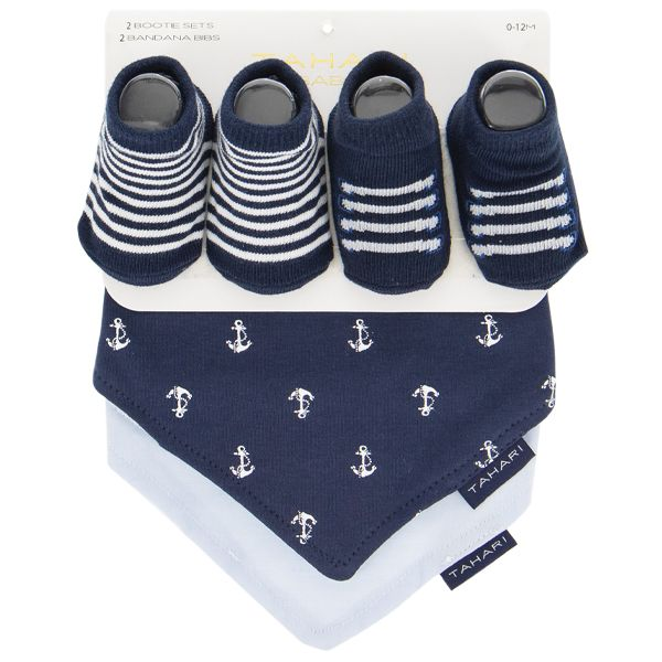 4pcs Bandana Bib and Sock Set - Navy