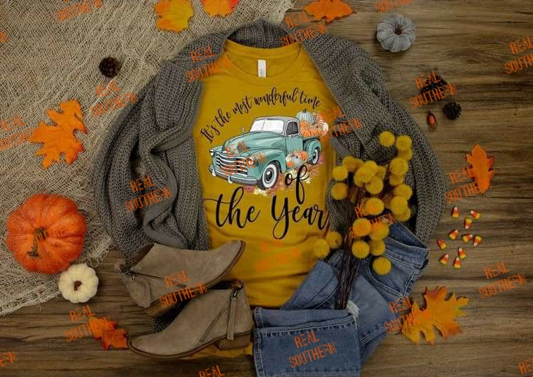 Most wonderful time - fall with truck and pumpkins