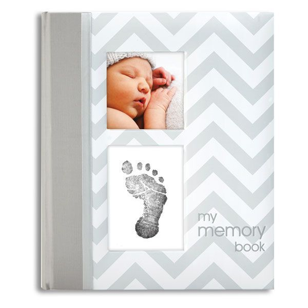 Baby Memory Book - Gray Chevron with ink pad and cards