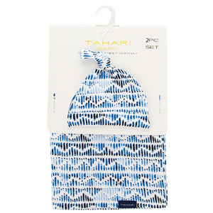 Blue and White Jersey Knit Swaddle Blanket and Hat