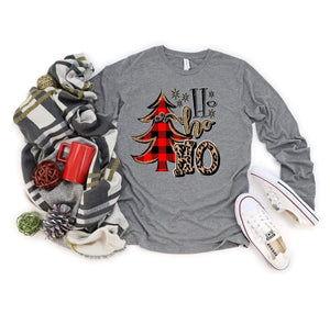 Ho ho ho with Buffalo plaid tree- grey long sleeve