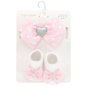 Baby Headband and Sock Set - Pink Polka Dot