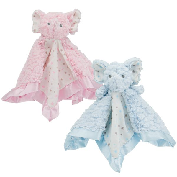 Elephant Baby Security Blankie - Pink or Blue
