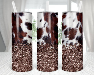 20oz Skinny tumbler cowhide with glotter bottom,  sublimation