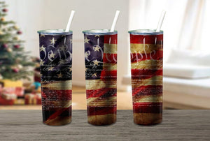 20oz Skinny tumbler We the People American Flag,  sublimation