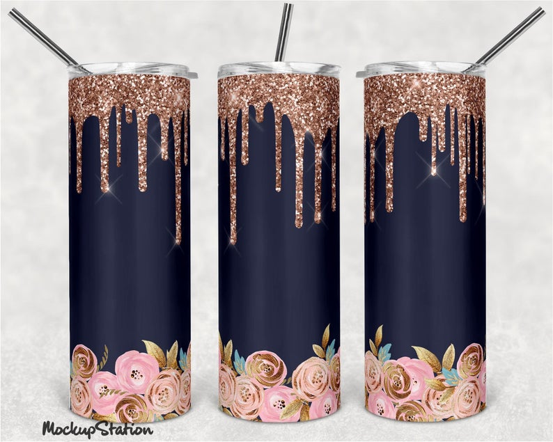 20oz Skinny tumbler Gold drip with roses,  sublimation