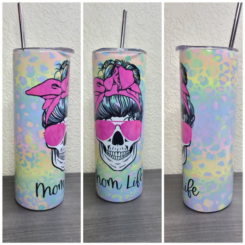 20oz Skinny tumbler #momlife,  sublimation