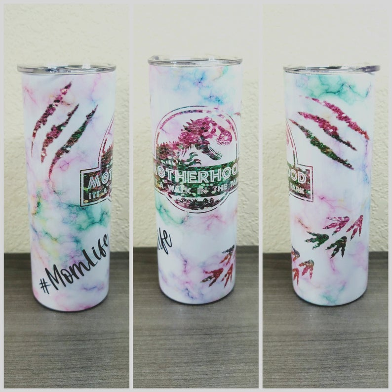 20oz Skinny tumbler Motherhood a walk in the park, sublimation