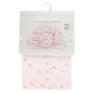 Swaddle Blanket and Turban - Pink Hearts
