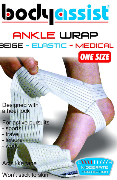 Body Assist - Ankle Wrap ONE SIZE Elastic Support Foot Injury Sprain