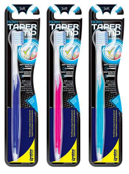 PIKSTERS - Taper Tip Toothbrush Tapered  Bristle - Smooth Contour Handle - Soft