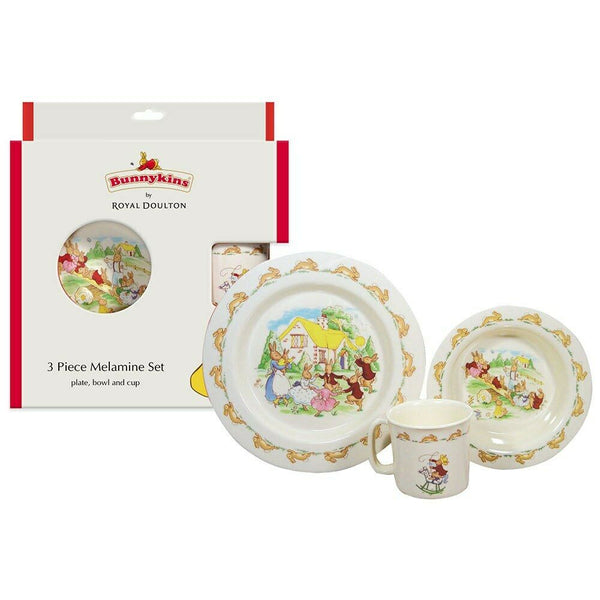 Royal Doulton  - Bunnykins 3 Piece Melamine Set Plate, Bowl And Cup Red