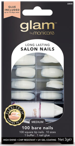 Glam By Manicare - Salon Nail Medium 100 BARE NAILS Glue On Artificial Nails