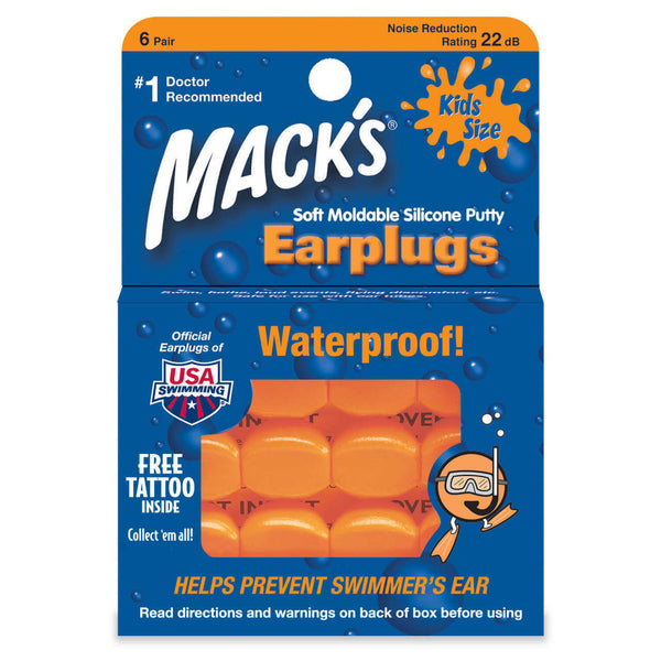 Macks Ear Plugs - Kids Soft Silicone Earplugs 6 Pair ORANGE Mouldable Swimmers