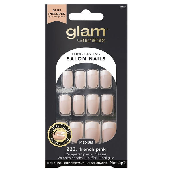Glam By Manicare - #223 French Pink Long Lasting Salon Nails Medium Glue Included
