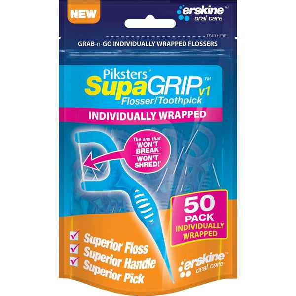 PIKSTERS - SupaGRIP v1 Flosser / Toothpick 5X 50 PACK 250 Individually Wrapped