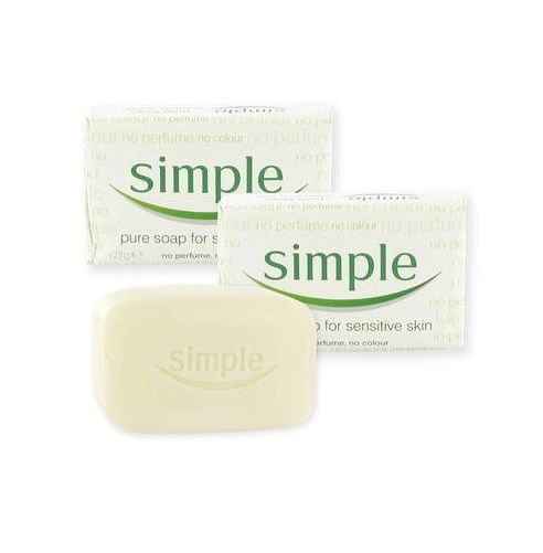Simple - 2x Pure Soap Bars 125g For Sensitive Skin Face & Body Gentle Wash