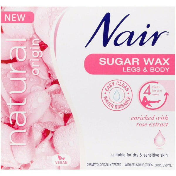 Nair - Sugar Wax Legs & Body For Dry & Sensitive Skin Enriched Rose Extract 508g