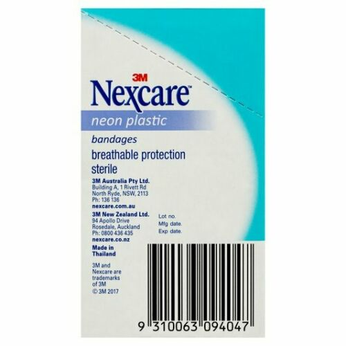 3M Nexcare - Neon Plastic Bandages 90 PACK Bandaid Plaster Coloured