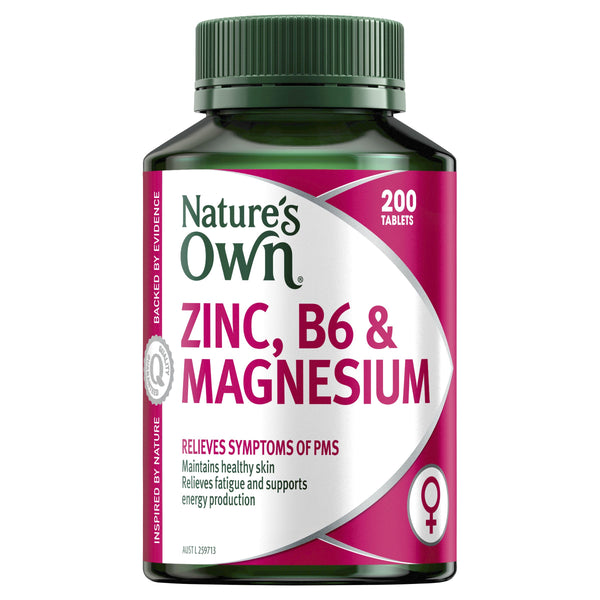 Natures Own - Zinc B6 & Magnesium  200 Tablets Relieves Symptoms Of PMS