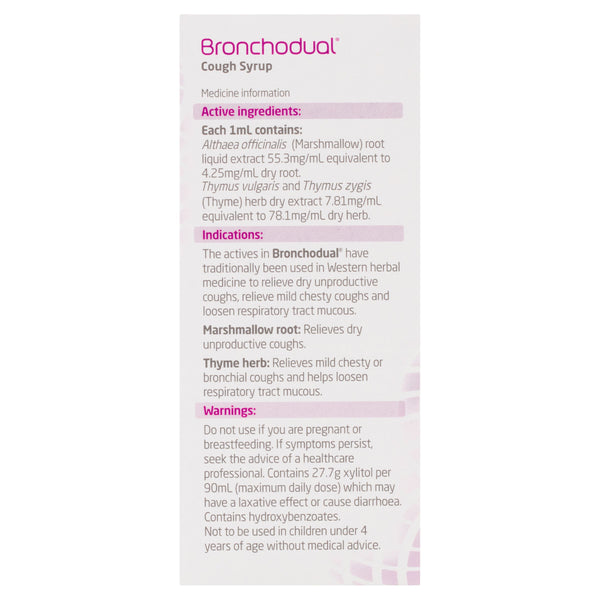 BronchoDual - Cough Syrup Marshmallow Root & Thyme Herb Relieves Dry & Chest Coughs 200ml
