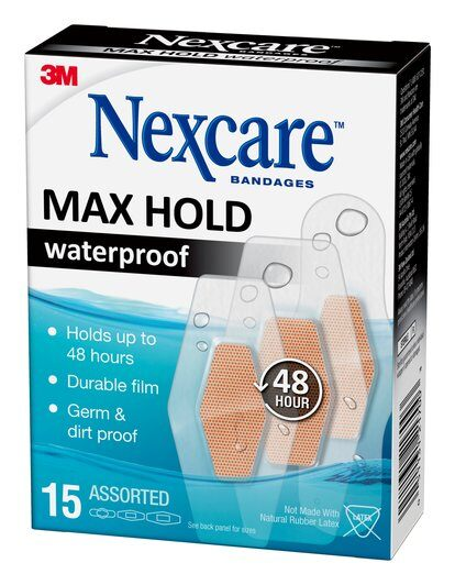 3M Nexcare - Waterproof Max Hold Bandages 15 BANDAIDS Assorted Sizes
